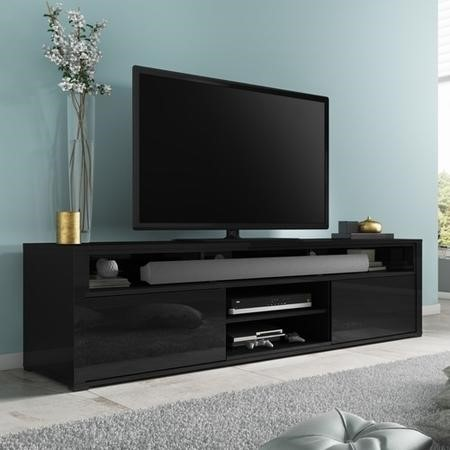 Evoque Black High Gloss Tv Unit With Soundbar Shelf