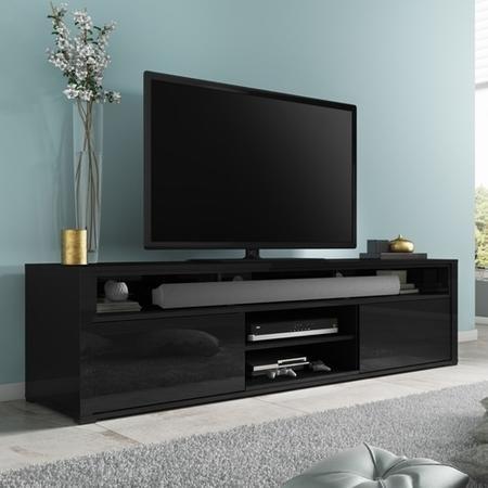 Evoque Black High Gloss Tv Unit With Soundbar Shelf