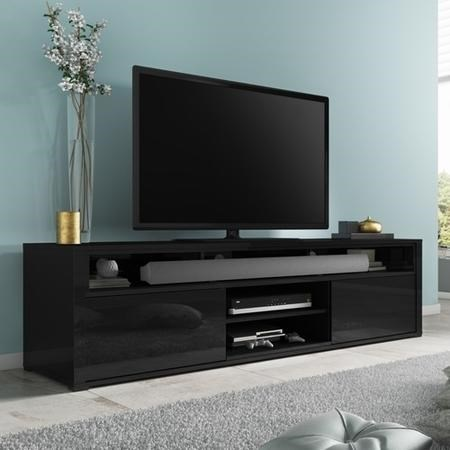 Neo Black High Gloss Tv Unit With Soundbar Shelf
