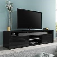 Large Black High Gloss TV Unit with Storage - Neo