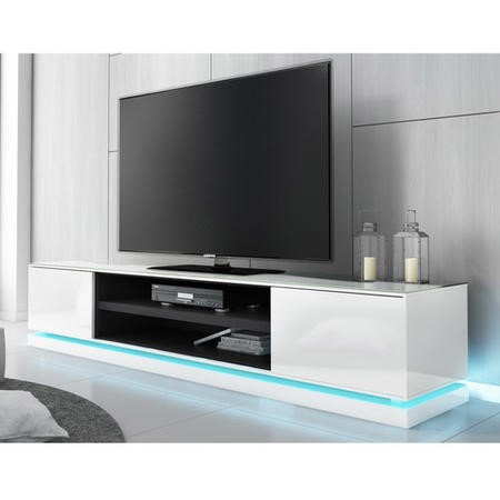 Evoque Large White High Gloss TV Unit with LED Lighting