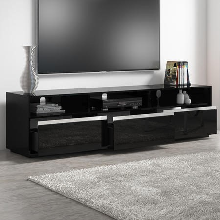 Neo Black High Gloss Extra Large Tv Unit Stand With Sound Bar Shelf