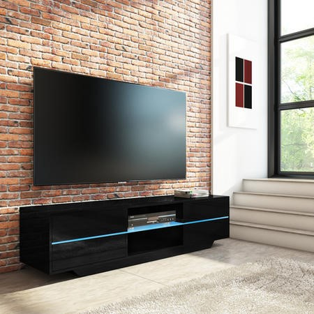 Evoque Black High Gloss TV Unit with LED Glass Shelf and Storage