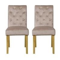 Faith Cream Pair of Velvet Dining Chairs with Oak Legs