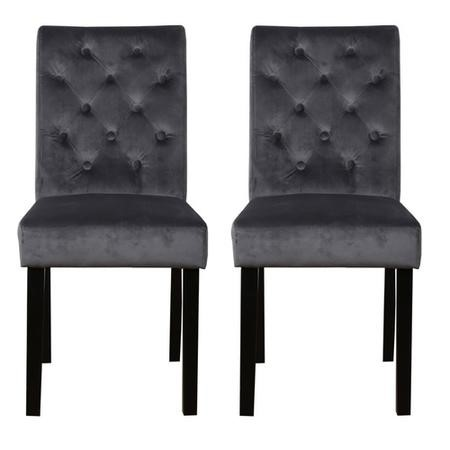 Faith Charcoal Pair Of Velvet Dining Chairs With Black