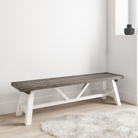 Wood Dining Bench in White & Grey Wash - Fawsley