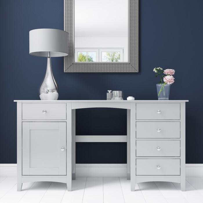 Fenton 5 Drawer 1 Door Dressing Table In Light Grey