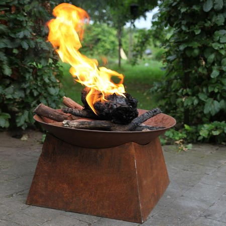 Rustic Steel Fire Pit Bowl and Stand