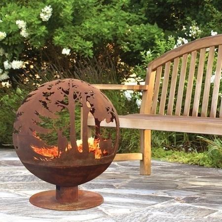 Cast Iron Fire Pit Globe with Laser Cut Woodland Pattern
