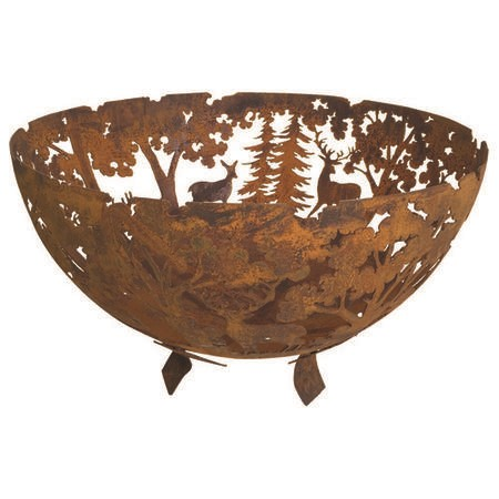 Cast Iron Fire Pit Bowl with Laser Cut Woodland Pattern