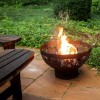 Black Steel Fire Pit Bowl with Laser Cut Flames