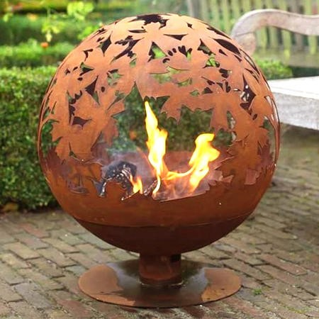 Cast Iron Fire Pit Globe with Laser Cut Leaf Pattern