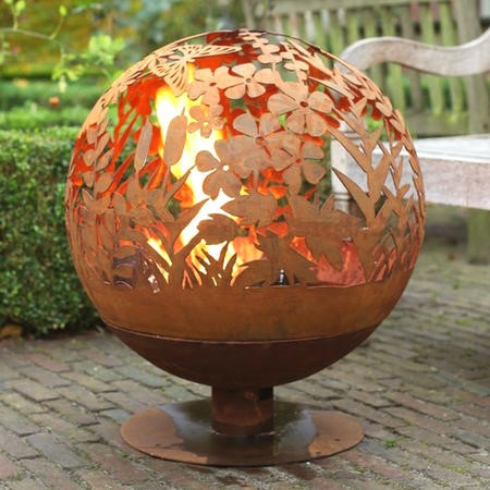 Cast Iron Fire Pit Globe with Laser Cut Meadow Pattern