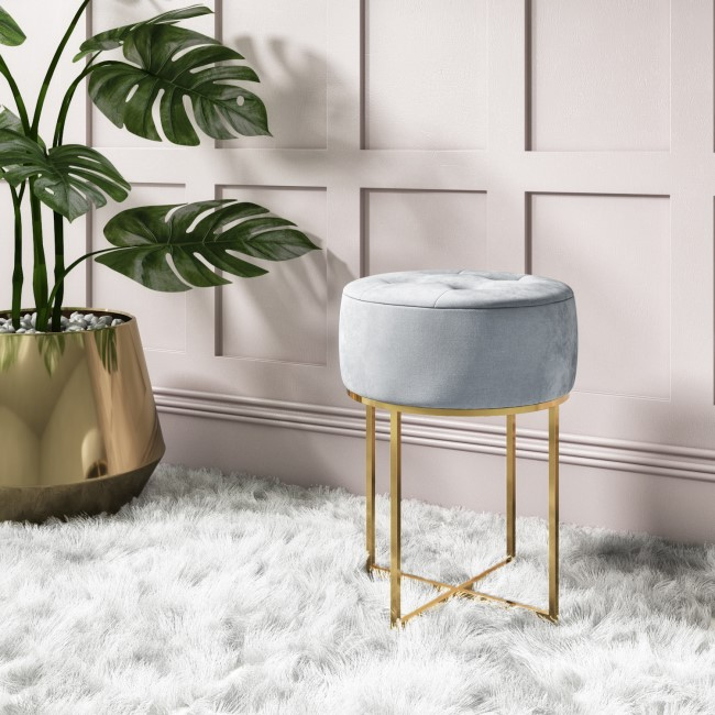 Grey Velvet Dressing Table Stool with Gold Legs - Fiorella