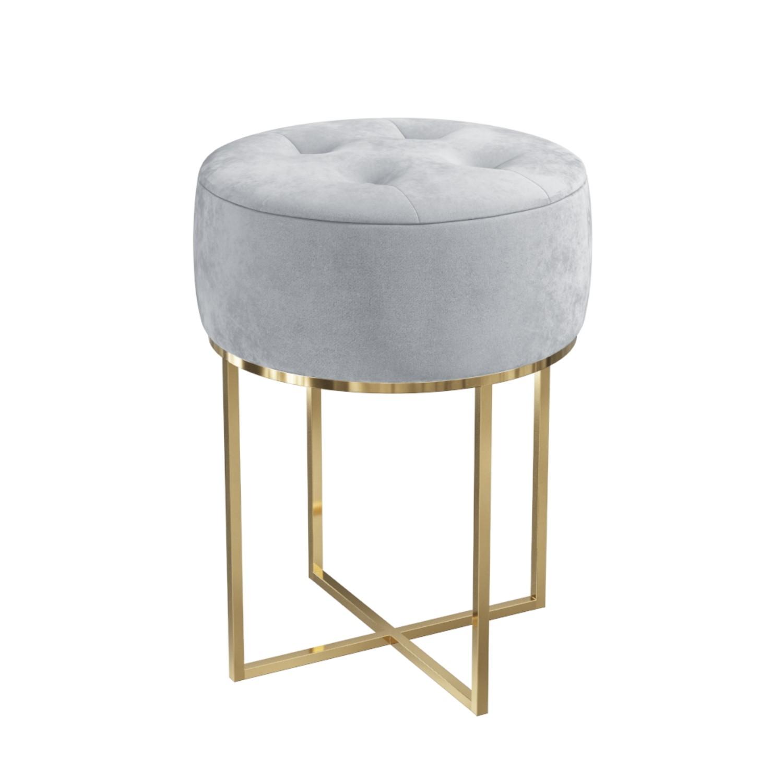 Grey Velvet Dressing Table Stool With Gold Legs Fiorella Furniture123