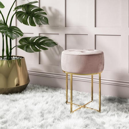Pink Velvet Dressing Table Stool with Gold Legs - Fiorella