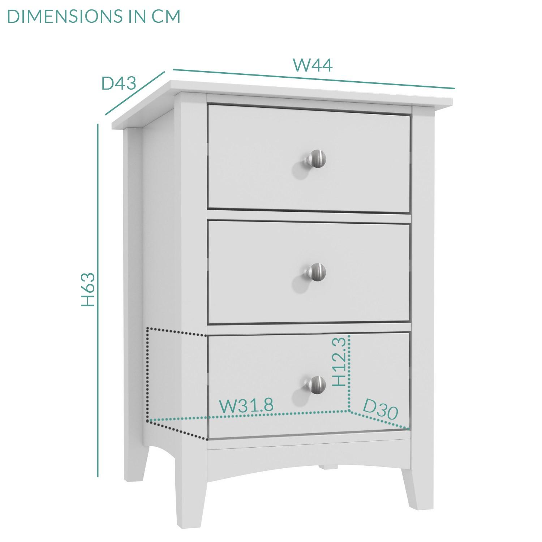 Finch 3 Drawer Bedside Cabinet In Light Grey