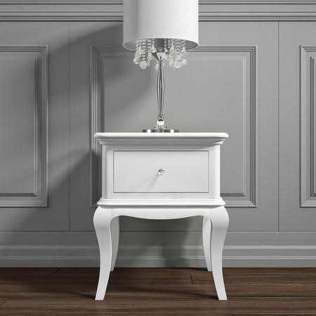 Florentine 1 Drawer French Style Bedside Table in White