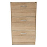 Designer 3 Tier Shoe Cabinet in Oak - 9 pairs