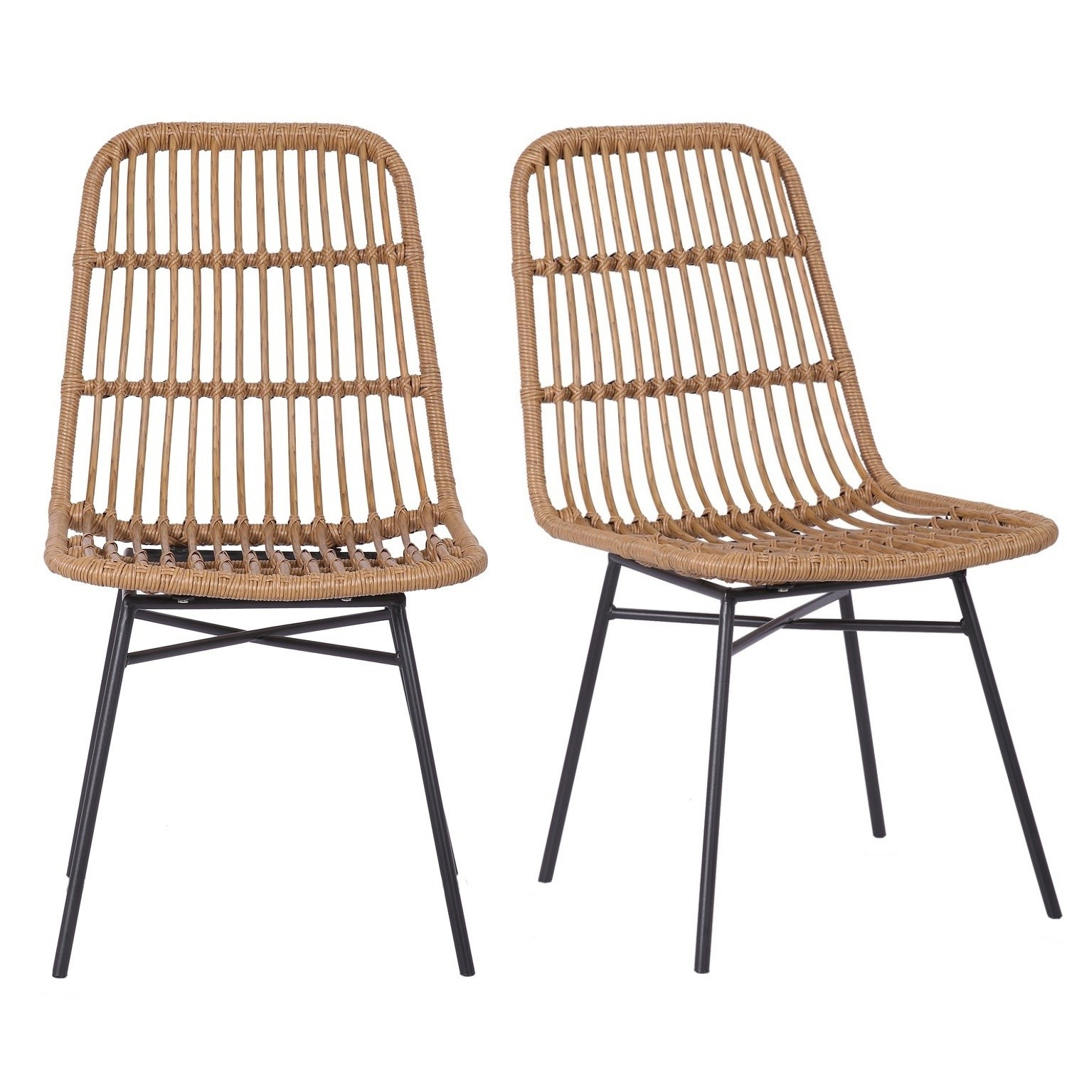 Photo of Pair of brown rattan dining chairs - fion