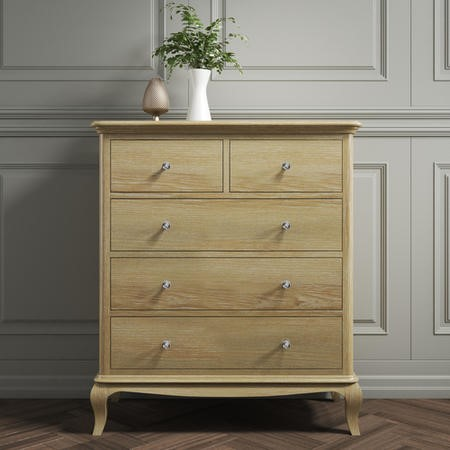Fonteyn 2+3 Solid Oak Chest of Drawers - French Style