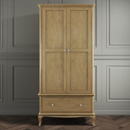 Fonteyn Solid Oak Wardrobe 2 Door 1 Drawer  - French Style