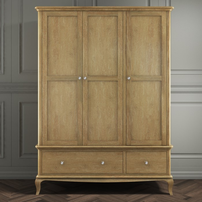 Fonteyn 3 Door 2 Drawer Wardrobe In Washed Solid Oak French Style
