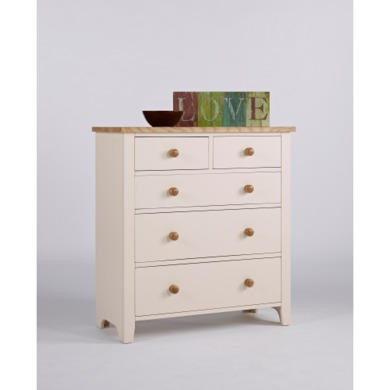 Dove 2 Over 3 Drawer Chest in White and Solid Ash