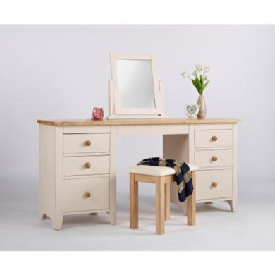 Dove Double Pedestal Dressing Table In Ivory and Ash