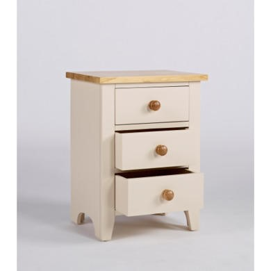 Dove Painted Bedside Table With 3 Drawers In Ivory and Ash