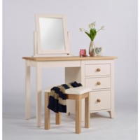 Dove Single Pedestal Dressing Table In Ivory and Ash