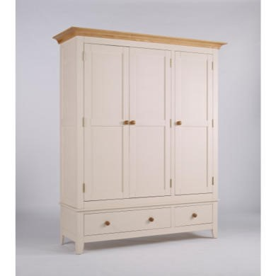 Dove 3 Door 2 Drawer Wardrobe In Ivory and Ash