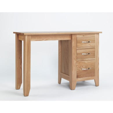 Robin Single Pedestal Dressing Table In Solid Oak
