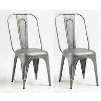 Cosmo Industrial Metal Pair of Chairs in Grey