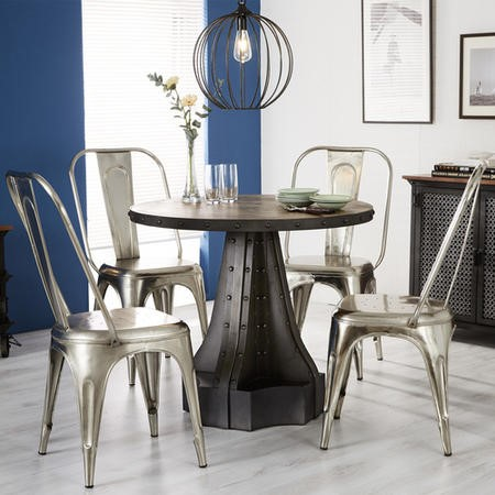 Evoke Metal and Reclaimed Wood Round Dining Table