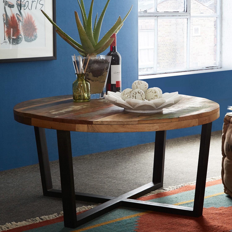 Coastal Reclaimed Wood Round Coffee Table Furniture123
