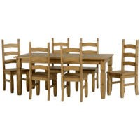 Seconique Corona Pine Dining Set- Pine Table & 6 Pine Dining Chairs