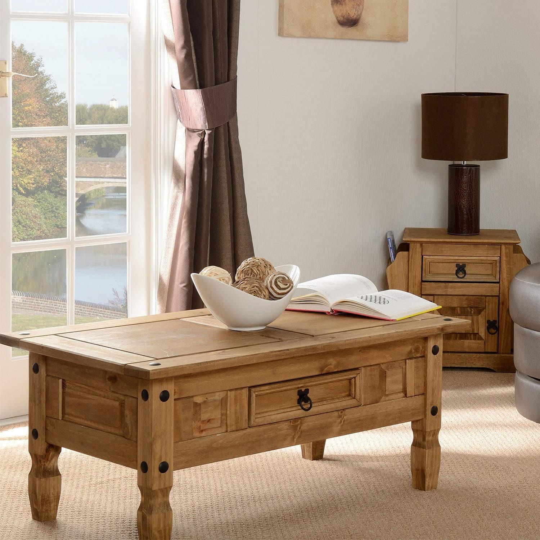 Seconique Original Corona Pine 1 Drawer Coffee Table Furniture123