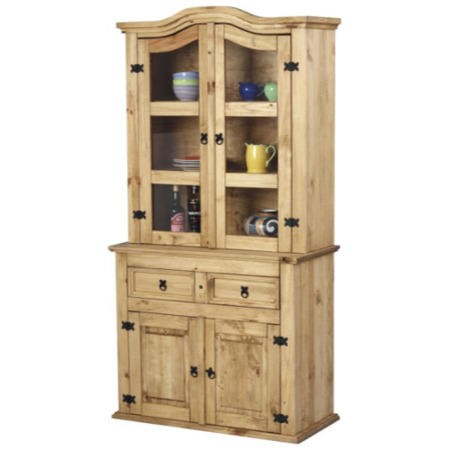 Seconique Corona Pine Display Cabinet with Glass Fronted Doors & Black Handles