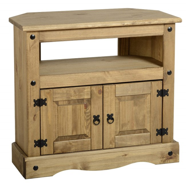 "GRADE A1 - Corner TV Stand in Pine TV's up to 35"" - Corona"