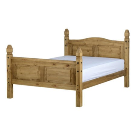 Seconique Corona King Size Bed Frame in Distressed Waxed Pine