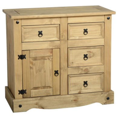 Seconique Original Corona Pine 1 Door 4 Drawer Sideboard
