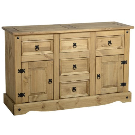 Seconique Original Corona Pine Sideboard with 2 Doors & 5 Drawers with Black Handles