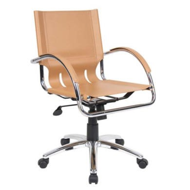 Dams Furniture Chromus Managers Leather Faced Chair in Tan