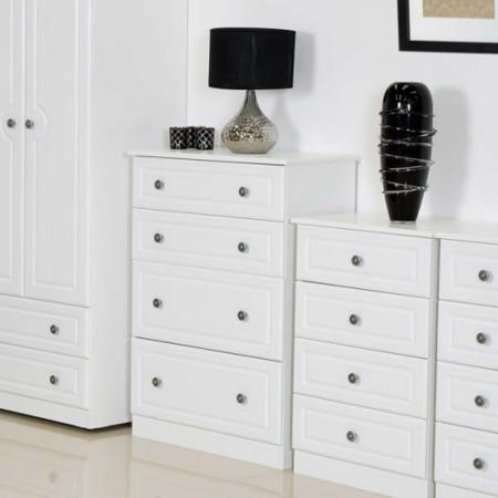 Welcome Furniture Pembroke White Deep 4 Drawer Chest