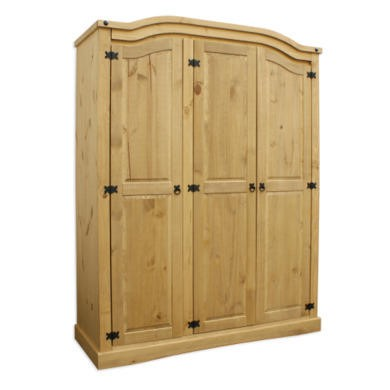 Corona Mexican 3 Door Wardrobe In Solid Pine
