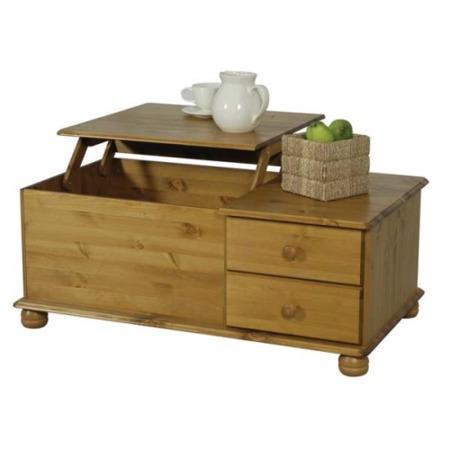 Oestergaard Wokingham Solid Pine Pop Up Coffee Table Furniture123