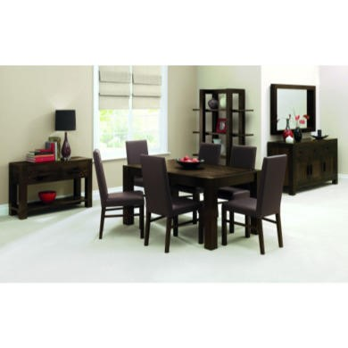 Bentley Designs Lyon Walnut Rectangular Dining Set with 6 Standard Faux-Leather Dining Chairs in Brown