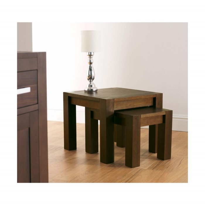 Bentley Designs Solid Dark Wood Nest of 2 Coffee Tables   Walnut Finish. Bentley Designs Solid Dark Wood Nest of 2 Coffee Tables   Walnut
