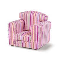 Just4Kidz Childrens Loose Cover Armchair in Candy Stripe